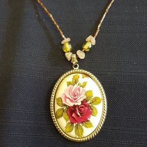 Vintage Painted Roses Porcelain Cameo Necklace